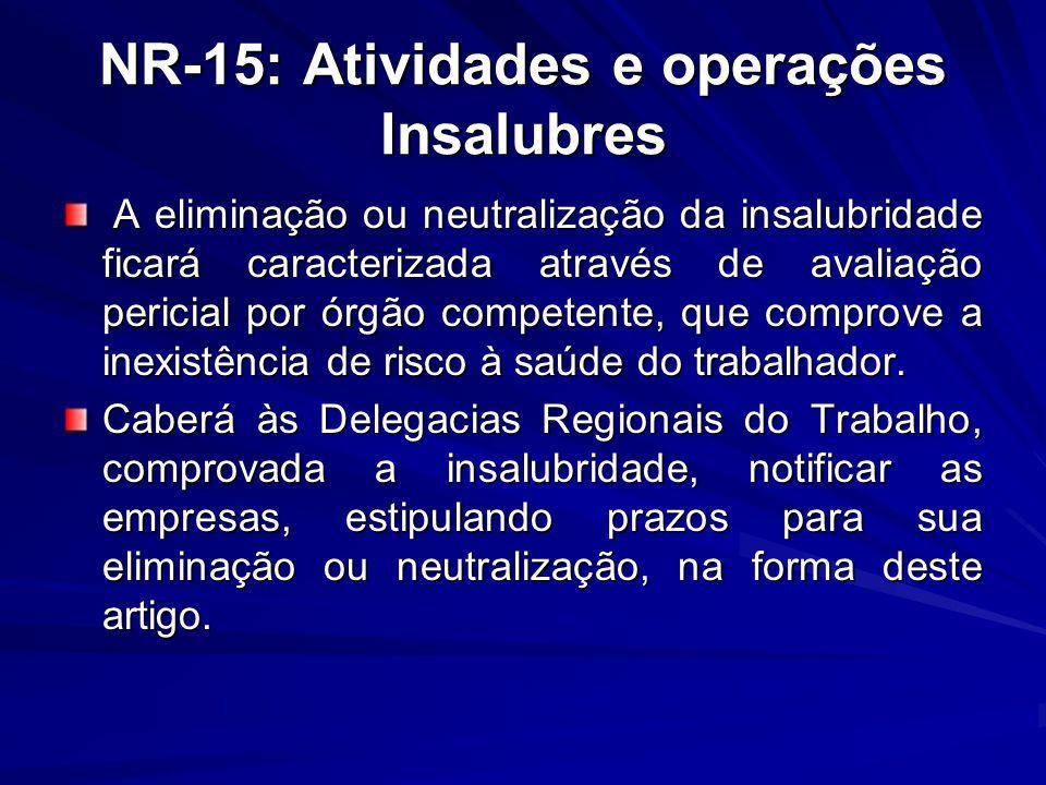 NR-15: Atividades e operações Insalubres A eliminação ou neutralização da insalubridade ficará caracterizada através de avaliação pericial por órgão c
