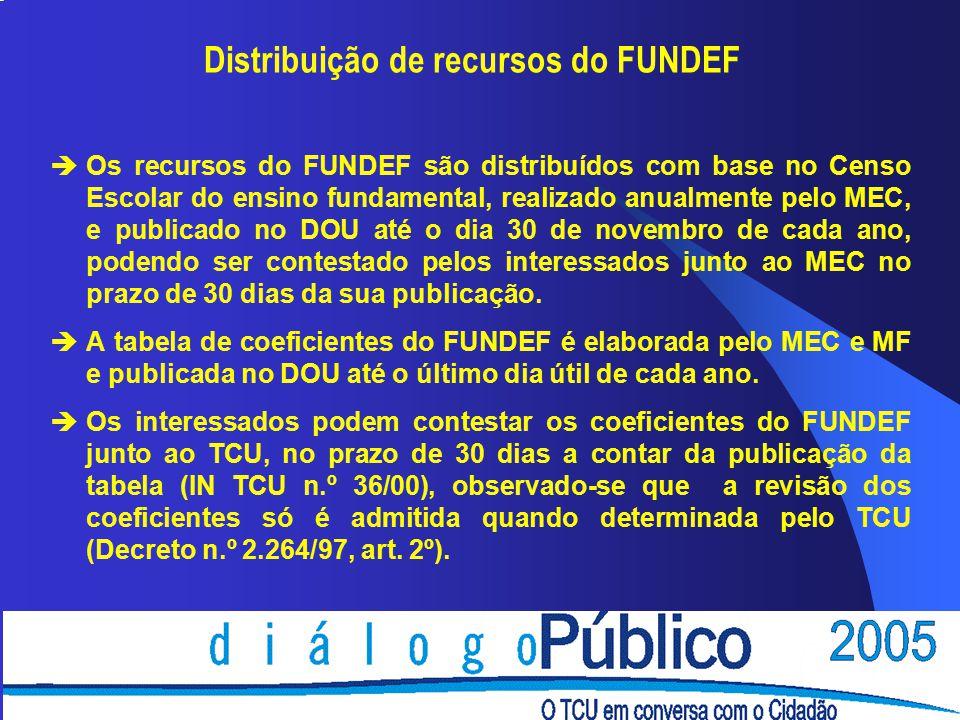 Distribuição de recursos do FUNDEF èOs recursos do FUNDEF são distribuídos com base no Censo Escolar do ensino fundamental, realizado anualmente pelo MEC, e publicado no DOU até o dia 30 de novembro de cada ano, podendo ser contestado pelos interessados junto ao MEC no prazo de 30 dias da sua publicação.