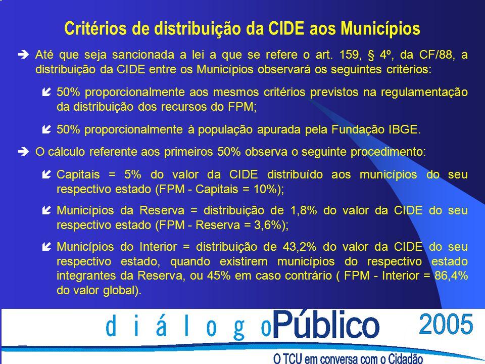 Critérios de distribuição da CIDE aos Municípios èAté que seja sancionada a lei a que se refere o art.