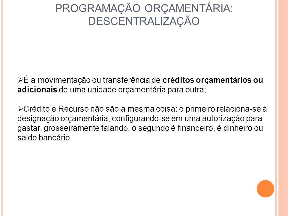 PROGRAMAÇÃO ORÇAMENTÁRIA: DESCENTRALIZAÇÃO  É a movimentação ou transferência de créditos orçamentários ou adicionais de uma unidade orçamentária par