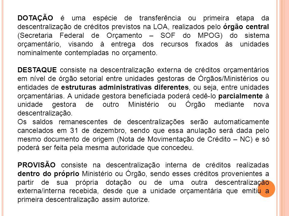 DOTAÇÃO é uma espécie de transferência ou primeira etapa da descentralização de créditos previstos na LOA, realizados pelo órgão central (Secretaria F