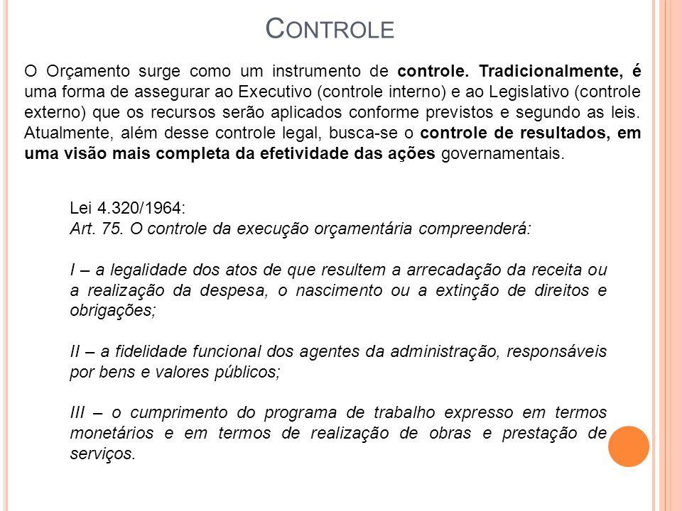C ONTROLE O Orçamento surge como um instrumento de controle. Tradicionalmente, é uma forma de assegurar ao Executivo (controle interno) e ao Legislati