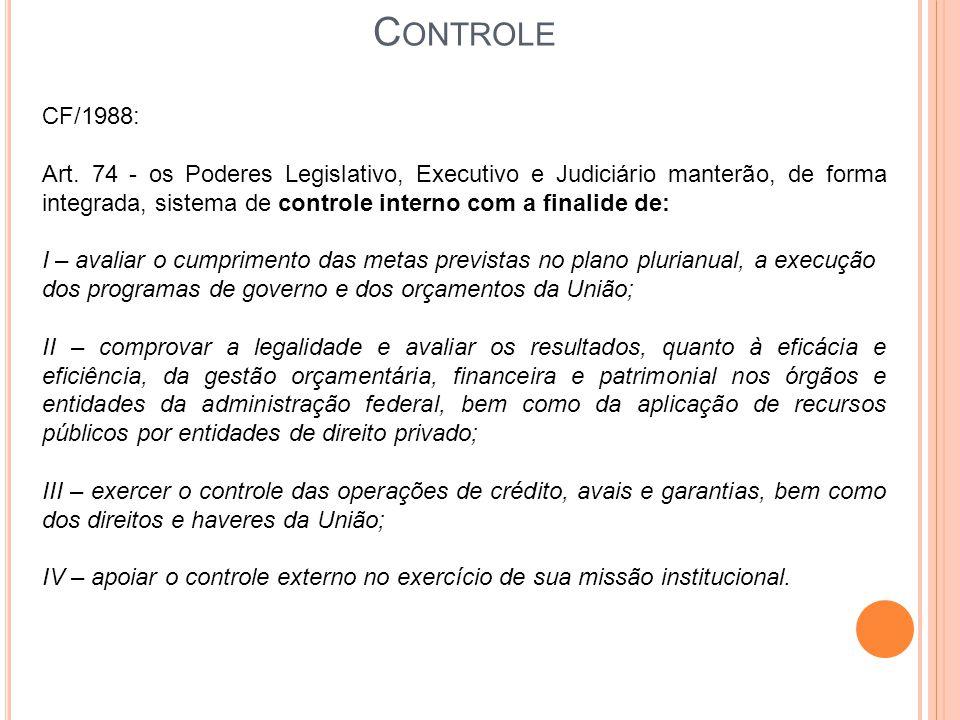 C ONTROLE CF/1988: Art. 74 - os Poderes Legislativo, Executivo e Judiciário manterão, de forma integrada, sistema de controle interno com a finalide d
