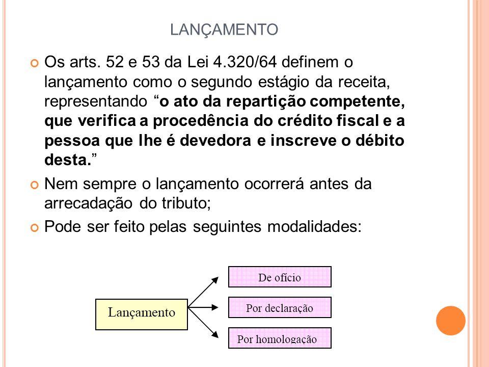 """LANÇAMENTO Os arts. 52 e 53 da Lei 4.320/64 definem o lançamento como o segundo estágio da receita, representando """"o ato da repartição competente, que"""