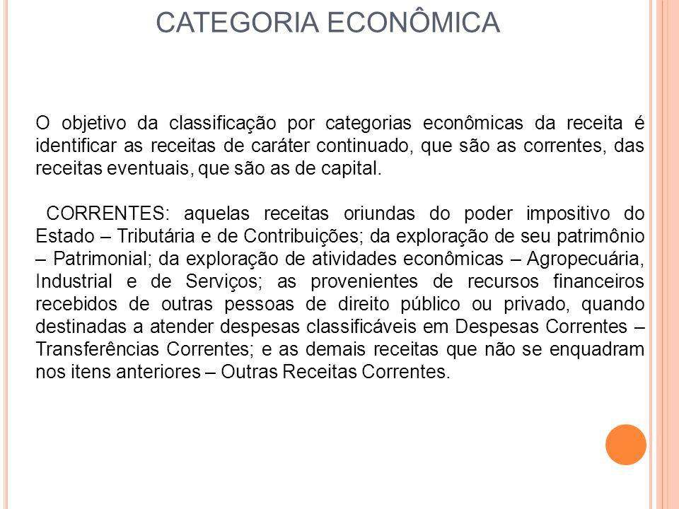 CATEGORIA ECONÔMICA O objetivo da classificação por categorias econômicas da receita é identificar as receitas de caráter continuado, que são as corre