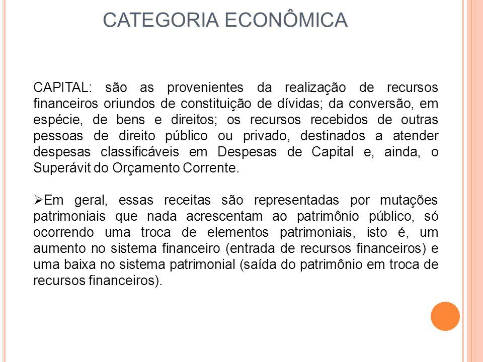 CATEGORIA ECONÔMICA CAPITAL: são as provenientes da realização de recursos financeiros oriundos de constituição de dívidas; da conversão, em espécie,