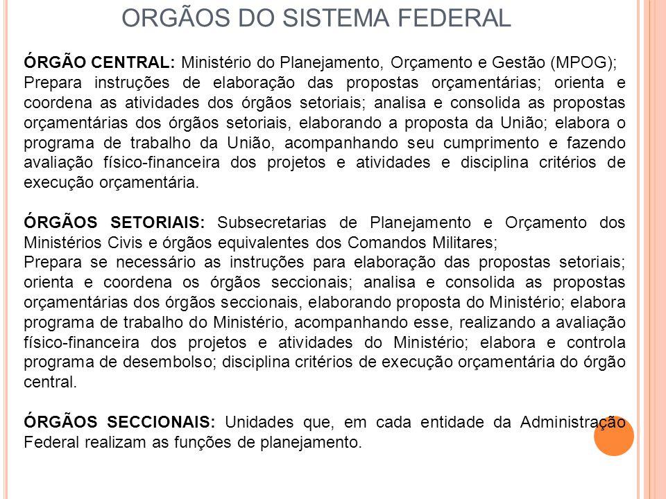 ORGÃOS DO SISTEMA FEDERAL ÓRGÃO CENTRAL: Ministério do Planejamento, Orçamento e Gestão (MPOG); Prepara instruções de elaboração das propostas orçamen