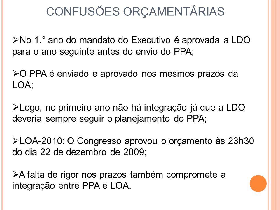 CONFUSÕES ORÇAMENTÁRIAS  No 1.° ano do mandato do Executivo é aprovada a LDO para o ano seguinte antes do envio do PPA;  O PPA é enviado e aprovado
