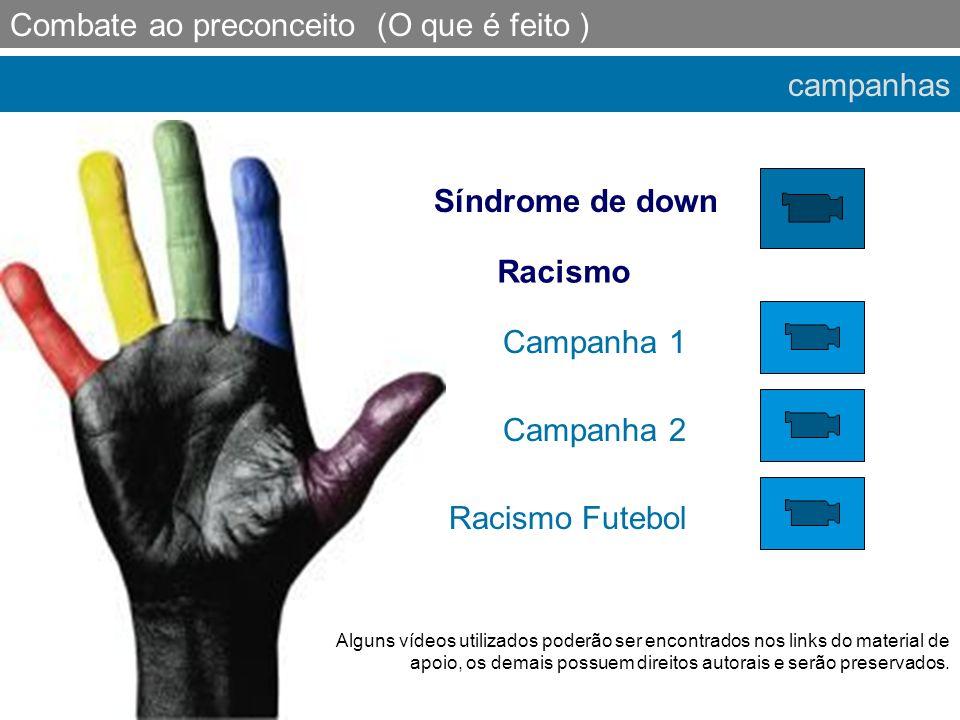 campanhas Combate ao preconceito (O que é feito ) Síndrome de down Racismo Racismo Futebol Campanha 1 Campanha 2 Alguns vídeos utilizados poderão ser
