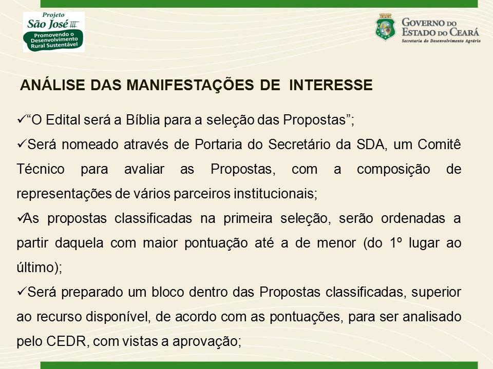 """ANÁLISE DAS MANIFESTAÇÕES DE INTERESSE """"O Edital será a Bíblia para a seleção das Propostas""""; Será nomeado através de Portaria do Secretário da SDA, u"""