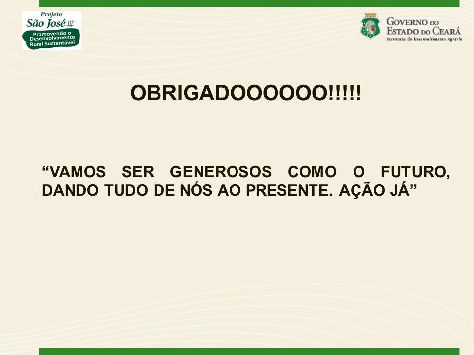 OBRIGADOOOOOO!!!!! VAMOS SER GENEROSOS COMO O FUTURO, DANDO TUDO DE NÓS AO PRESENTE. AÇÃO JÁ