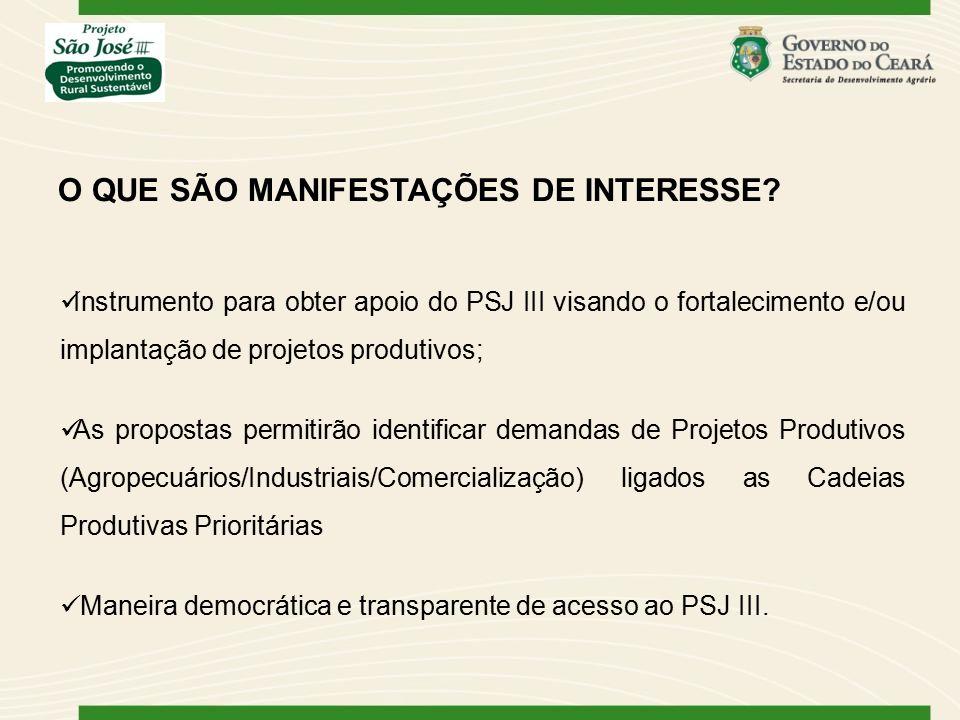 Instrumento para obter apoio do PSJ III visando o fortalecimento e/ou implantação de projetos produtivos; As propostas permitirão identificar demandas de Projetos Produtivos (Agropecuários/Industriais/Comercialização) ligados as Cadeias Produtivas Prioritárias Maneira democrática e transparente de acesso ao PSJ III.