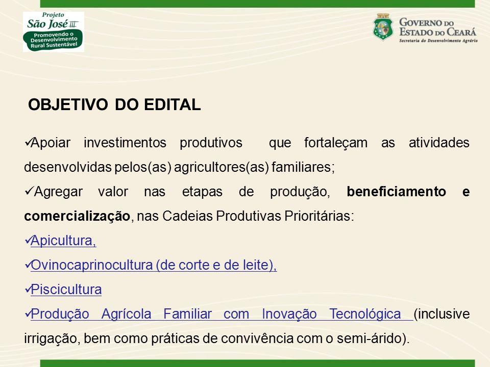 Apoiar investimentos produtivos que fortaleçam as atividades desenvolvidas pelos(as) agricultores(as) familiares; Agregar valor nas etapas de produção, beneficiamento e comercialização, nas Cadeias Produtivas Prioritárias: Apicultura, Ovinocaprinocultura (de corte e de leite), Piscicultura Produção Agrícola Familiar com Inovação Tecnológica (inclusive irrigação, bem como práticas de convivência com o semi-árido).