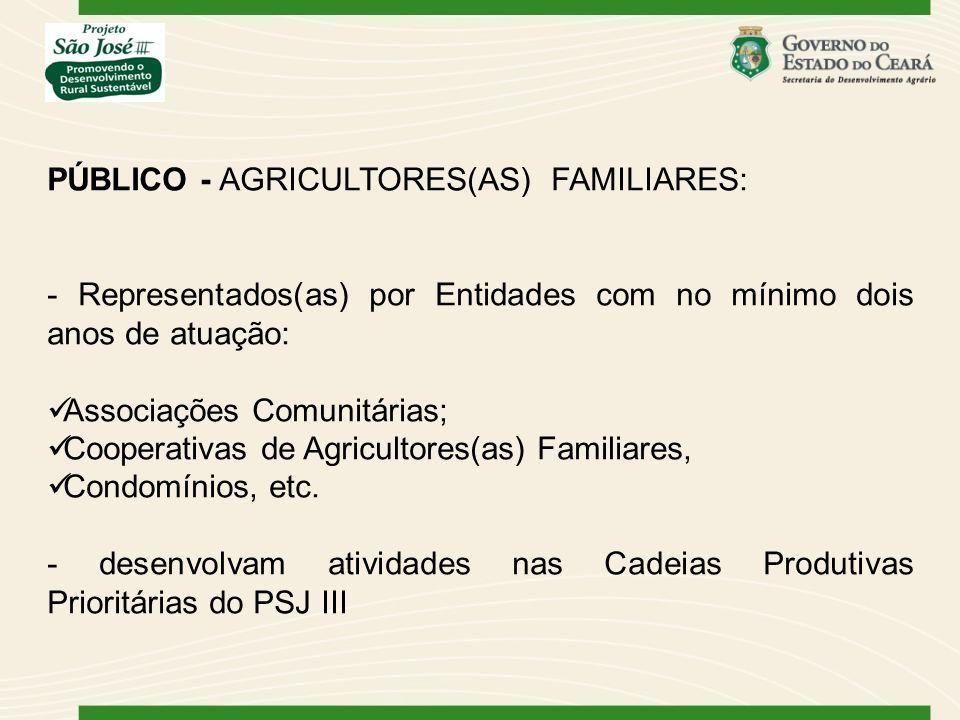 PÚBLICO - AGRICULTORES(AS) FAMILIARES: - Representados(as) por Entidades com no mínimo dois anos de atuação: Associações Comunitárias; Cooperativas de Agricultores(as) Familiares, Condomínios, etc.