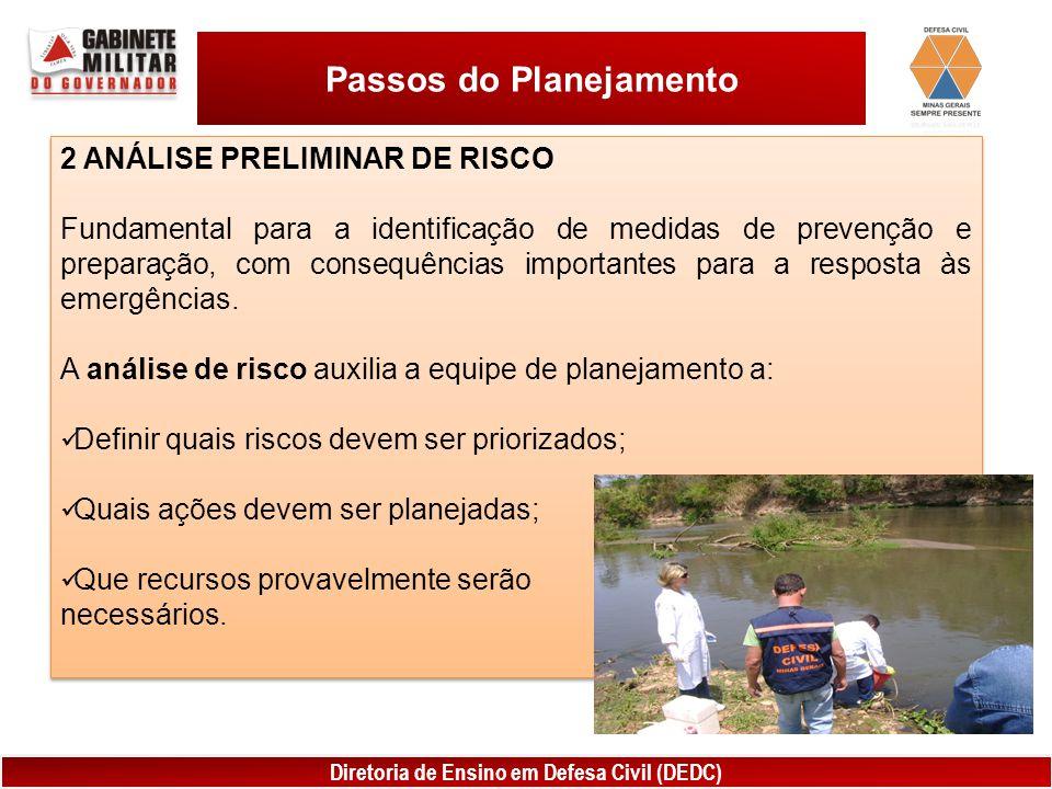 Diretoria de Ensino em Defesa Civil (DEDC) Passos do Planejamento 2 ANÁLISE PRELIMINAR DE RISCO Fundamental para a identificação de medidas de prevenção e preparação, com consequências importantes para a resposta às emergências.