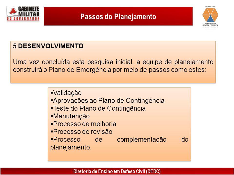 Diretoria de Ensino em Defesa Civil (DEDC) Passos do Planejamento 5 DESENVOLVIMENTO Uma vez concluída esta pesquisa inicial, a equipe de planejamento construirá o Plano de Emergência por meio de passos como estes: 5 DESENVOLVIMENTO Uma vez concluída esta pesquisa inicial, a equipe de planejamento construirá o Plano de Emergência por meio de passos como estes:  Validação  Aprovações ao Plano de Contingência  Teste do Plano de Contingência  Manutenção  Processo de melhoria  Processo de revisão  Processo de complementação do planejamento.