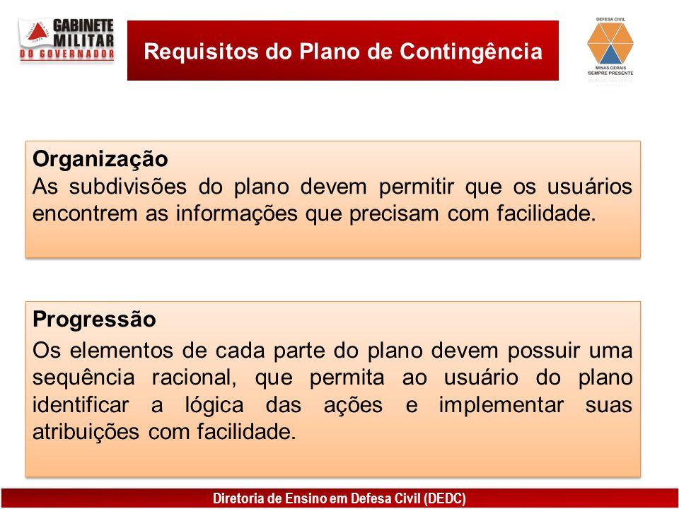 Diretoria de Ensino em Defesa Civil (DEDC) Requisitos do Plano de Contingência Organização As subdivisões do plano devem permitir que os usuários encontrem as informações que precisam com facilidade.