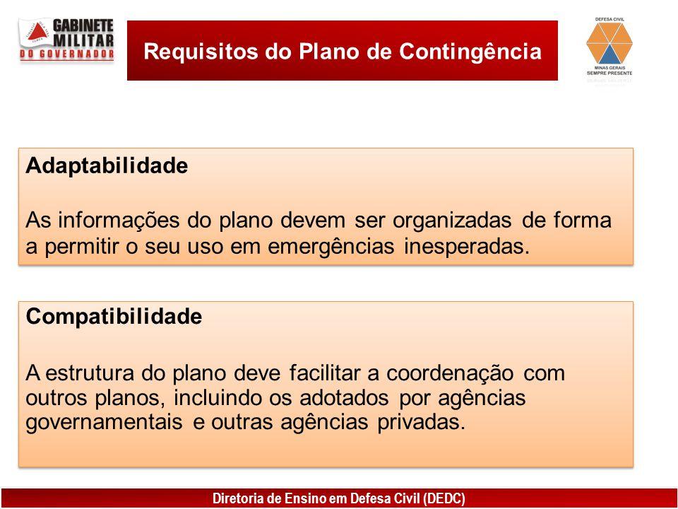 Diretoria de Ensino em Defesa Civil (DEDC) Requisitos do Plano de Contingência Adaptabilidade As informações do plano devem ser organizadas de forma a permitir o seu uso em emergências inesperadas.