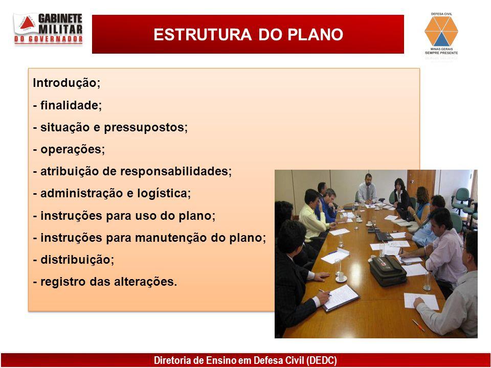 Diretoria de Ensino em Defesa Civil (DEDC) ESTRUTURA DO PLANO Introdução; - finalidade; - situação e pressupostos; - operações; - atribuição de respon