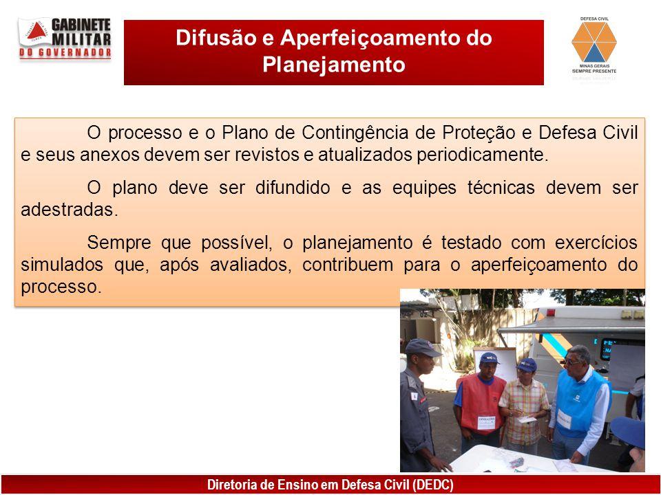 Diretoria de Ensino em Defesa Civil (DEDC) Difusão e Aperfeiçoamento do Planejamento O processo e o Plano de Contingência de Proteção e Defesa Civil e