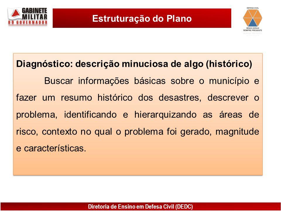 Diretoria de Ensino em Defesa Civil (DEDC) Estruturação do Plano Diagnóstico: descrição minuciosa de algo (histórico) Buscar informações básicas sobre