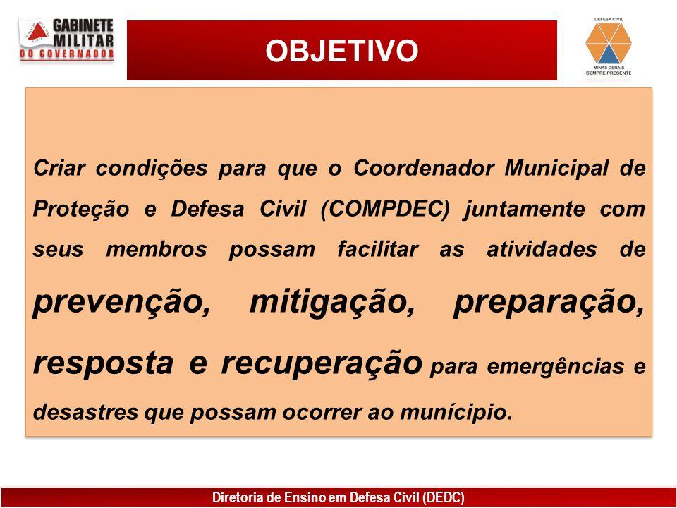 Diretoria de Ensino em Defesa Civil (DEDC) OBJETIVO Criar condições para que o Coordenador Municipal de Proteção e Defesa Civil (COMPDEC) juntamente c
