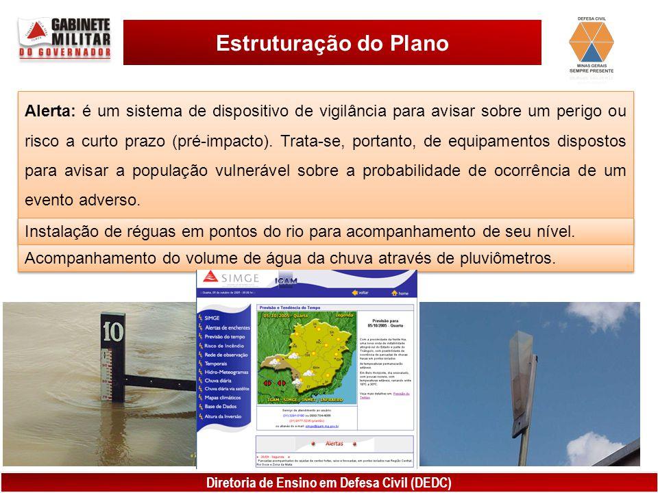 Diretoria de Ensino em Defesa Civil (DEDC) Estruturação do Plano Alerta: é um sistema de dispositivo de vigilância para avisar sobre um perigo ou risc