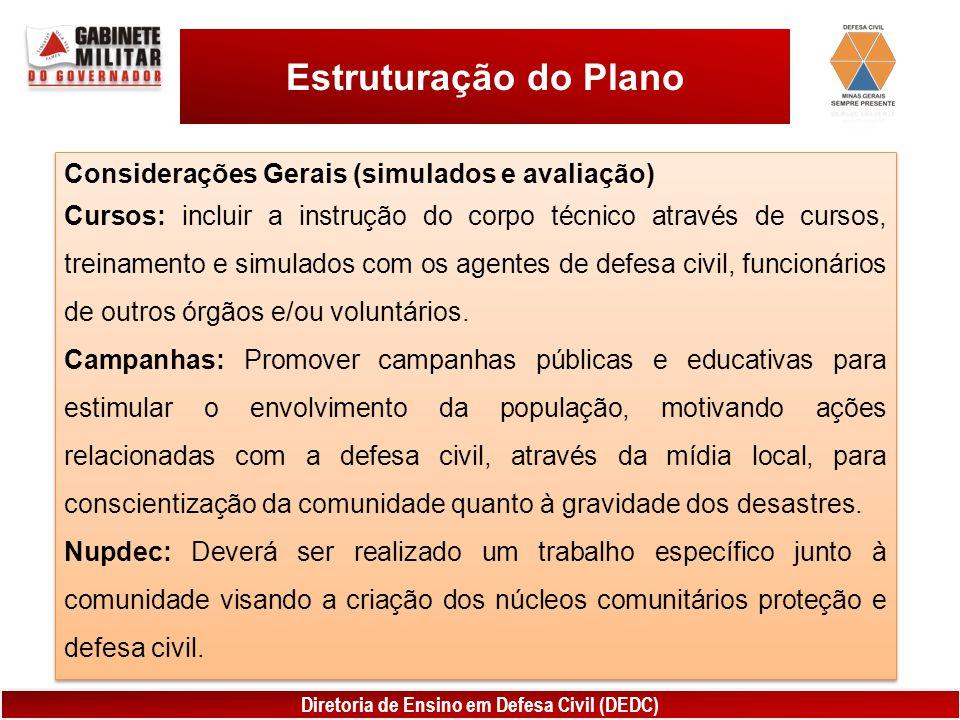 Diretoria de Ensino em Defesa Civil (DEDC) Estruturação do Plano Considerações Gerais (simulados e avaliação) Cursos: incluir a instrução do corpo téc