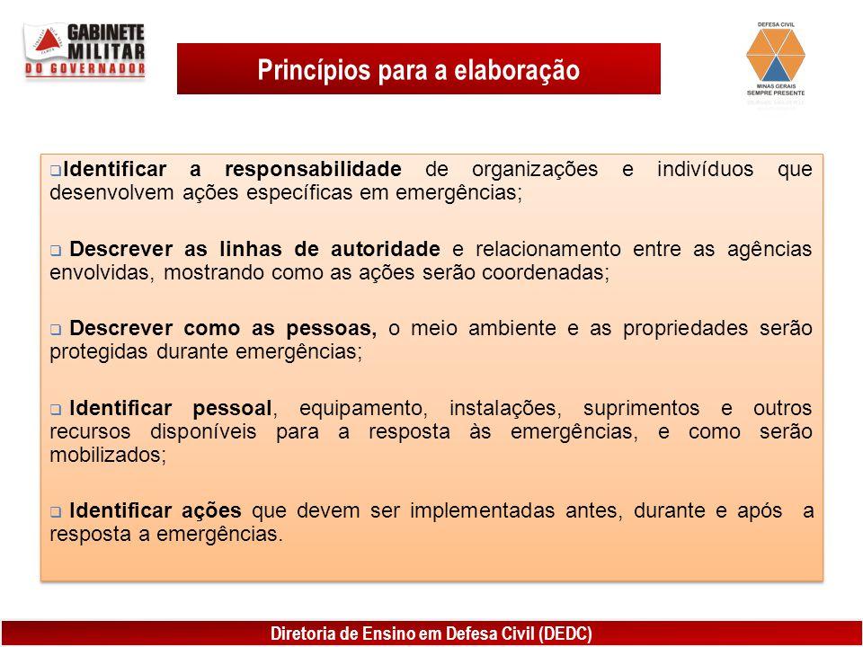 Diretoria de Ensino em Defesa Civil (DEDC) Princípios para a elaboração  Identificar a responsabilidade de organizações e indivíduos que desenvolvem