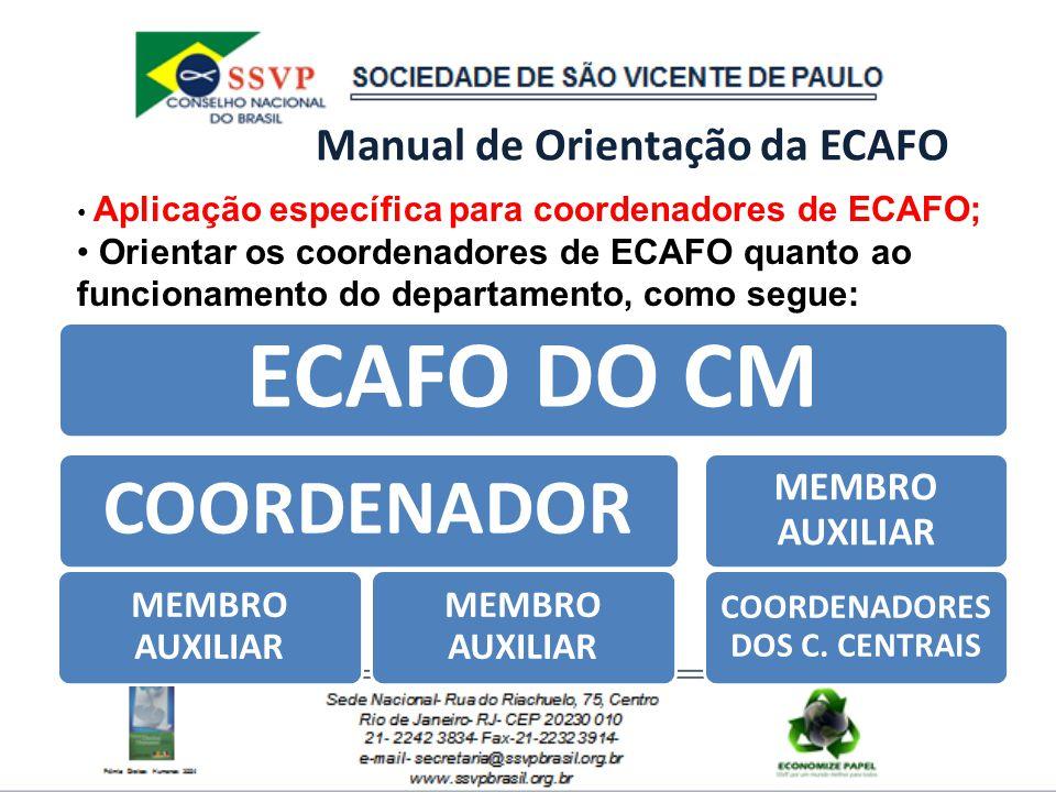 Manual de Orientação da ECAFO ECAFO DO CM COORDENADOR MEMBRO AUXILIAR COORDENADORES DOS C. CENTRAIS Aplicação específica para coordenadores de ECAFO;