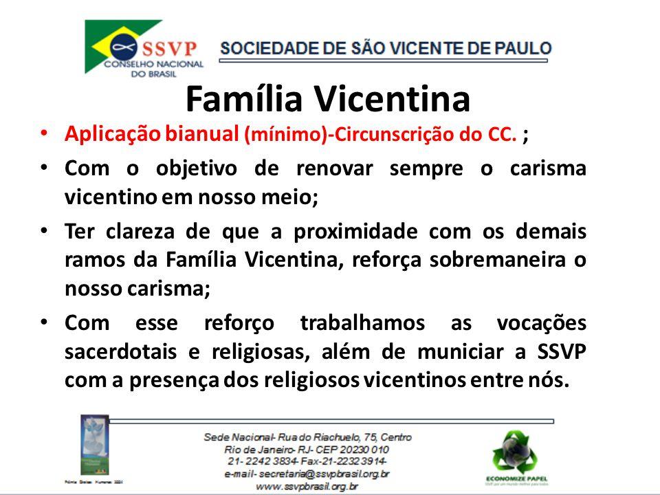 Família Vicentina Aplicação bianual (mínimo)-Circunscrição do CC. ; Com o objetivo de renovar sempre o carisma vicentino em nosso meio; Ter clareza de