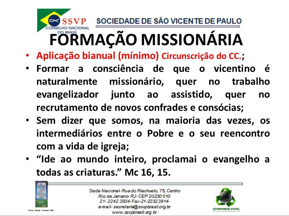 FORMAÇÃO MISSIONÁRIA Aplicação bianual (mínimo) Circunscrição do CC. ; Formar a consciência de que o vicentino é naturalmente missionário, quer no tra
