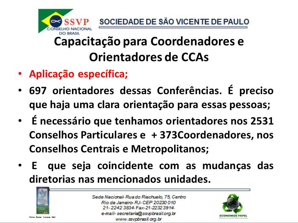 Capacitação para Coordenadores e Orientadores de CCAs Aplicação específica; 697 orientadores dessas Conferências. É preciso que haja uma clara orienta