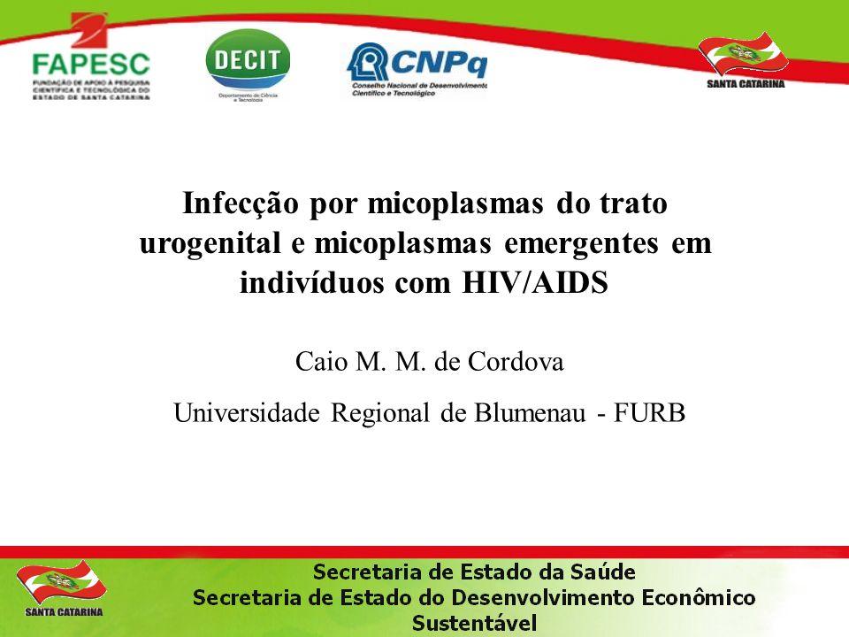 Infecção por micoplasmas do trato urogenital e micoplasmas emergentes em indivíduos com HIV/AIDS Caio M. M. de Cordova Universidade Regional de Blumen