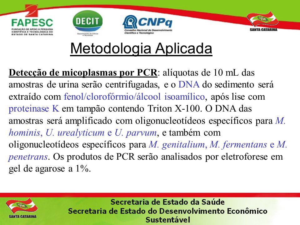 Metodologia Aplicada Detecção de micoplasmas por PCR: alíquotas de 10 mL das amostras de urina serão centrifugadas, e o DNA do sedimento será extraído