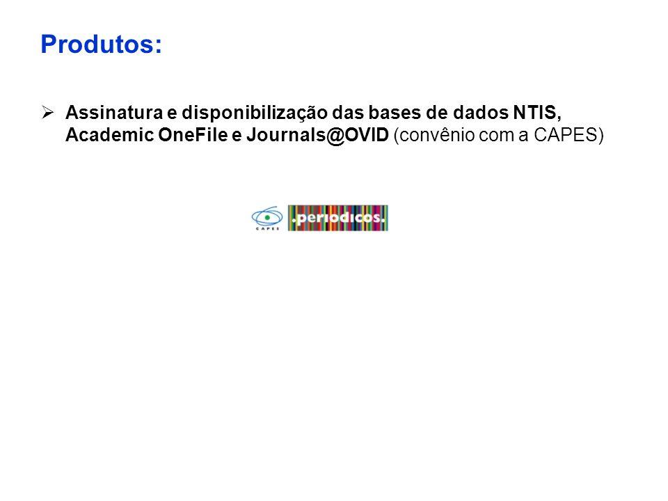 Produtos:  Assinatura e disponibilização das bases de dados NTIS, Academic OneFile e Journals@OVID (convênio com a CAPES)
