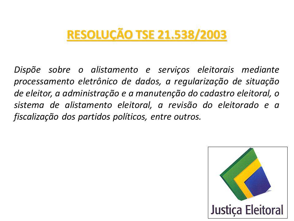 RESOLUÇÃO TSE 21.538/2003 Dispõe sobre o alistamento e serviços eleitorais mediante processamento eletrônico de dados, a regularização de situação de