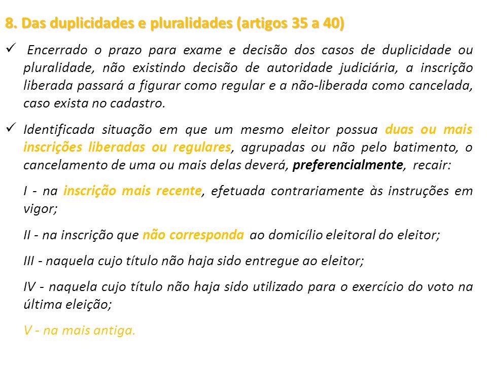 8. Das duplicidades e pluralidades (artigos 35 a 40) Encerrado o prazo para exame e decisão dos casos de duplicidade ou pluralidade, não existindo dec