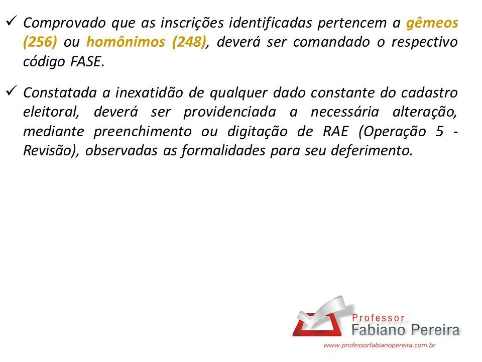 Comprovado que as inscrições identificadas pertencem a gêmeos (256) ou homônimos (248), deverá ser comandado o respectivo código FASE. Constatada a in