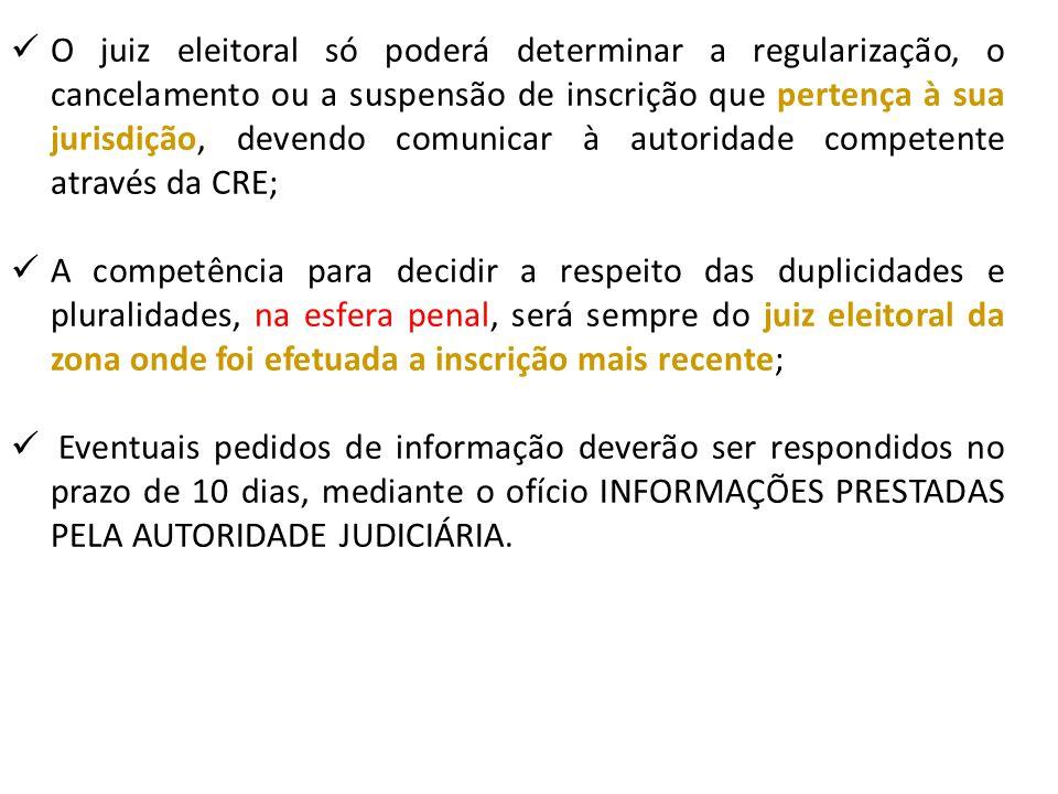 O juiz eleitoral só poderá determinar a regularização, o cancelamento ou a suspensão de inscrição que pertença à sua jurisdição, devendo comunicar à a