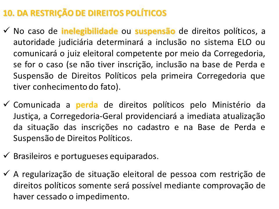 10. DA RESTRIÇÃO DE DIREITOS POLÍTICOS inelegibilidadesuspensão No caso de inelegibilidade ou suspensão de direitos políticos, a autoridade judiciária