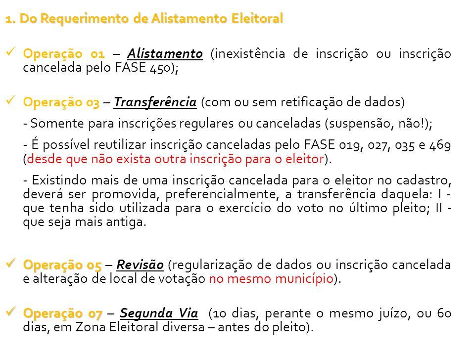 1. Do Requerimento de Alistamento Eleitoral Operação 01 – Alistamento (inexistência de inscrição ou inscrição cancelada pelo FASE 450); Operação 03 –
