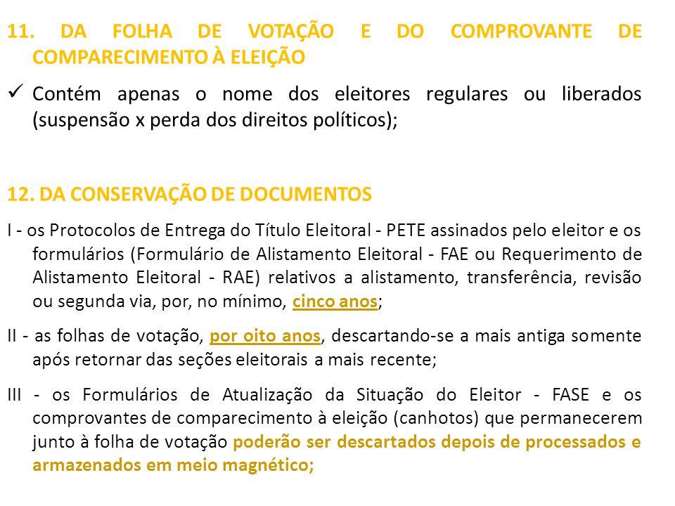 11. DA FOLHA DE VOTAÇÃO E DO COMPROVANTE DE COMPARECIMENTO À ELEIÇÃO Contém apenas o nome dos eleitores regulares ou liberados (suspensão x perda dos