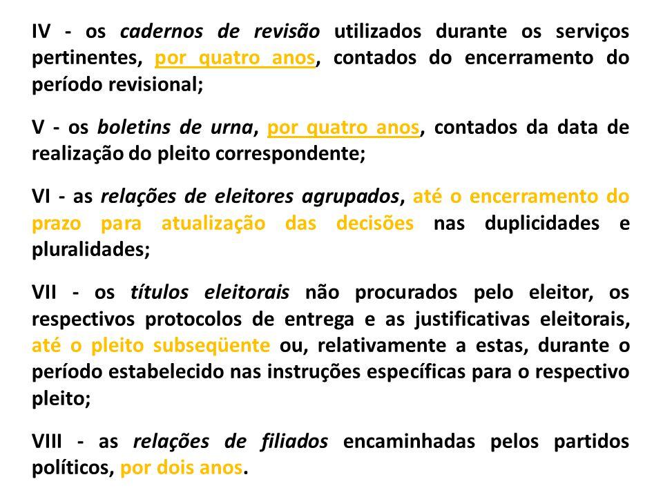 IV - os cadernos de revisão utilizados durante os serviços pertinentes, por quatro anos, contados do encerramento do período revisional; V - os boleti