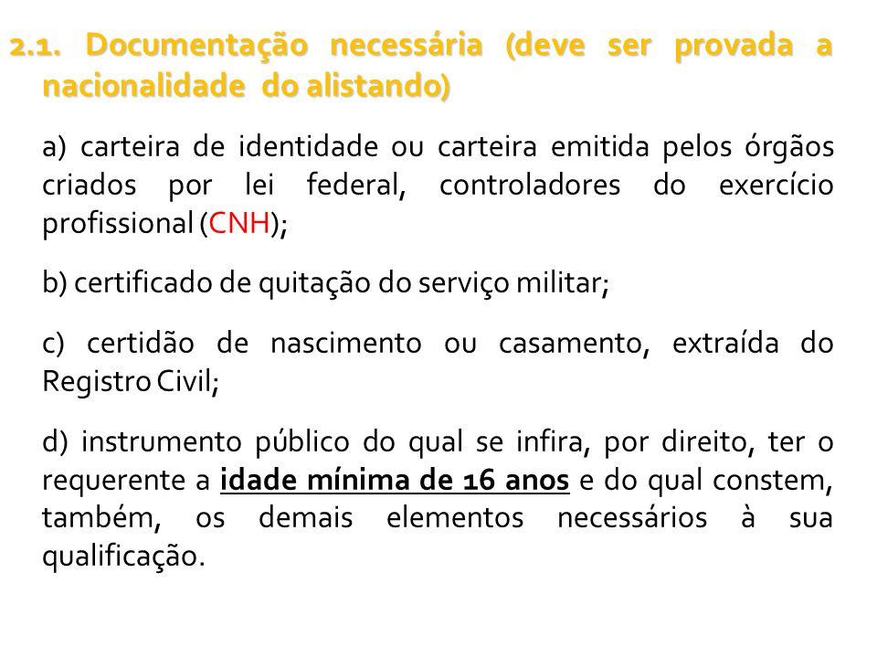 2.1. Documentação necessária (deve ser provada a nacionalidade do alistando) a) carteira de identidade ou carteira emitida pelos órgãos criados por le