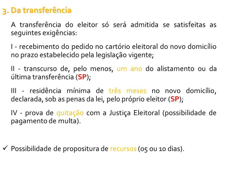 3. Da transferência A transferência do eleitor só será admitida se satisfeitas as seguintes exigências: I - recebimento do pedido no cartório eleitora