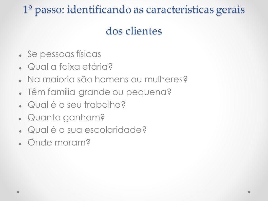 1º passo: identificando as características gerais dos clientes Se pessoas físicas Qual a faixa etária? Na maioria são homens ou mulheres? Têm família