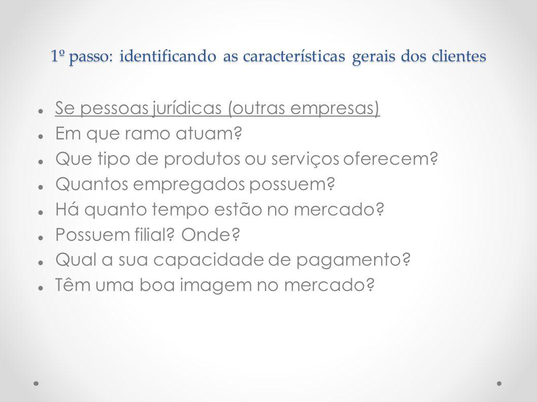 1º passo: identificando as características gerais dos clientes Se pessoas jurídicas (outras empresas) Em que ramo atuam? Que tipo de produtos ou servi