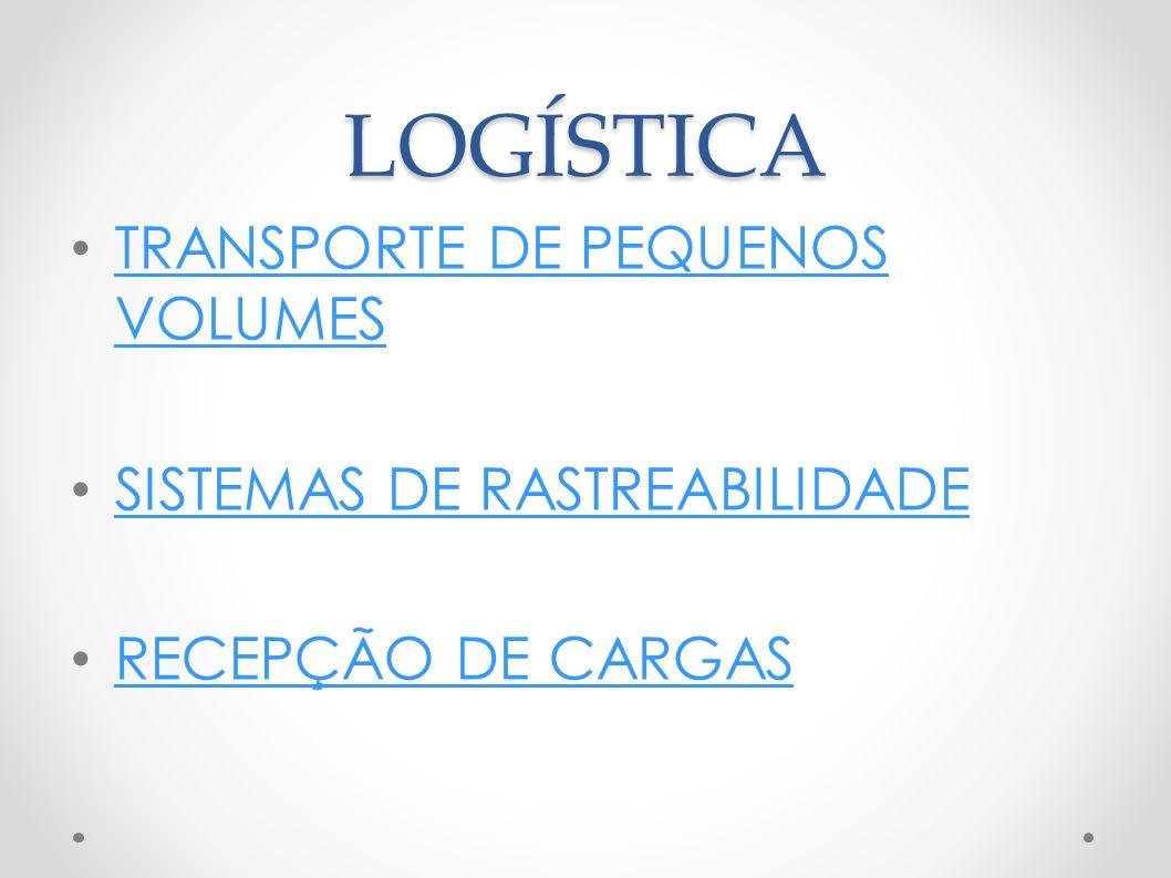 LOGÍSTICA TRANSPORTE DE PEQUENOS VOLUMES TRANSPORTE DE PEQUENOS VOLUMES SISTEMAS DE RASTREABILIDADE RECEPÇÃO DE CARGAS
