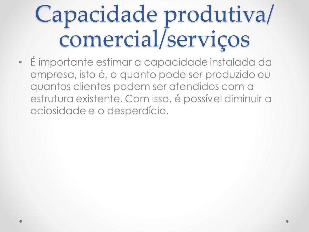 Capacidade produtiva/ comercial/serviços É importante estimar a capacidade instalada da empresa, isto é, o quanto pode ser produzido ou quantos client